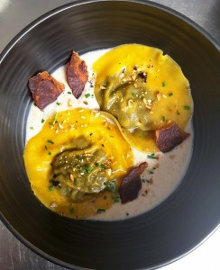 Ravioles de Champignons des Sous Bois,     Emulsion  de Lard, Crispy de Coppa, Noisettes Grillées